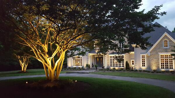 Highlight accents in the yard with landscape lighting.
