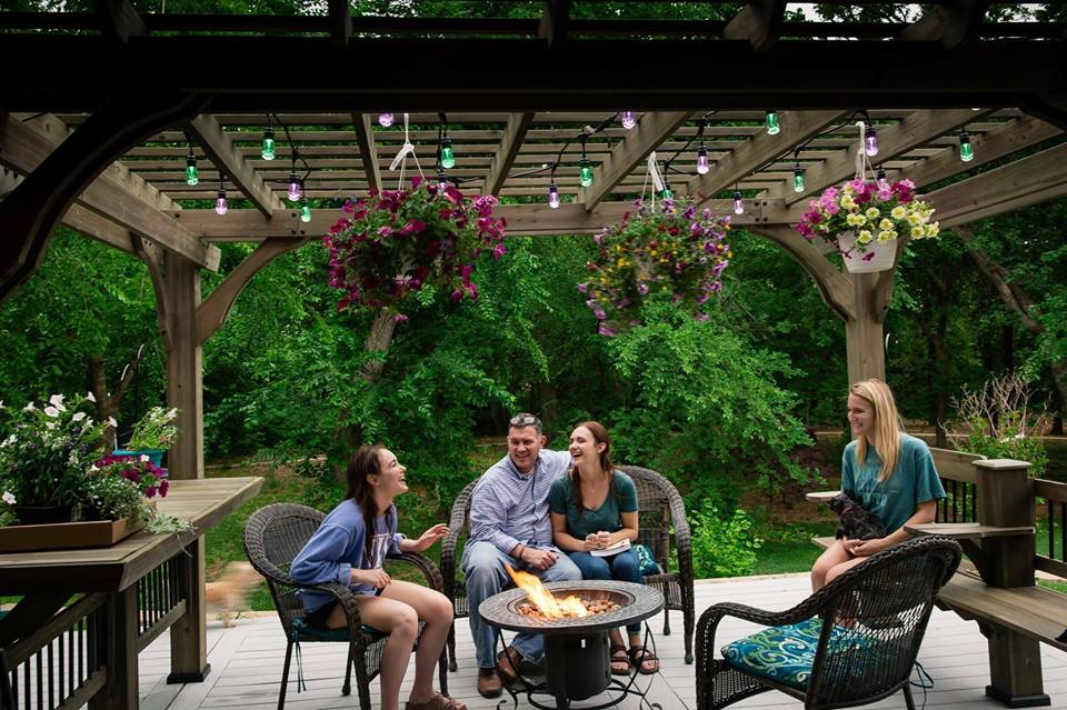 Illuminate your porch or patio in the evenings with Enbrighten café lights that automatically turn on and off at certain times.