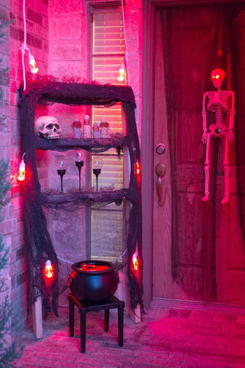 Make a spooky entrance to your house on Halloween with Enbrighten Color Changing Cafe Lights.