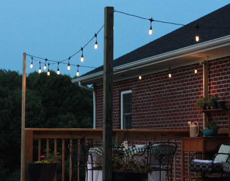 Eye-Catching Deck Lighting on the countryside with Enbrighten Cafe Lights