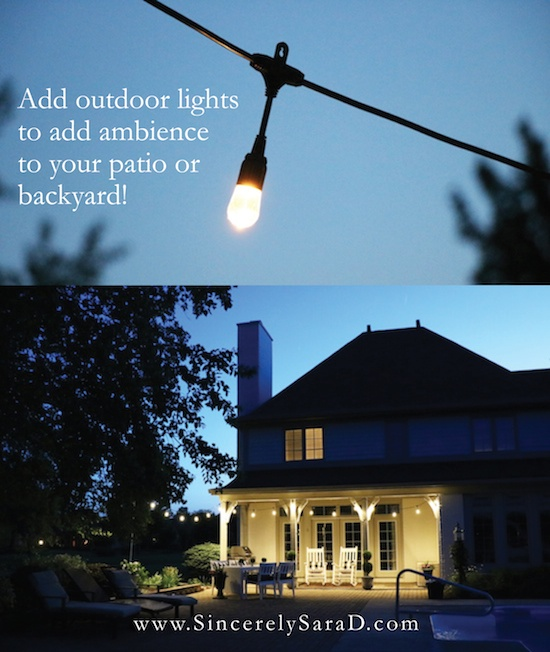 DIY Patio String Light Planter with Cafe Lights