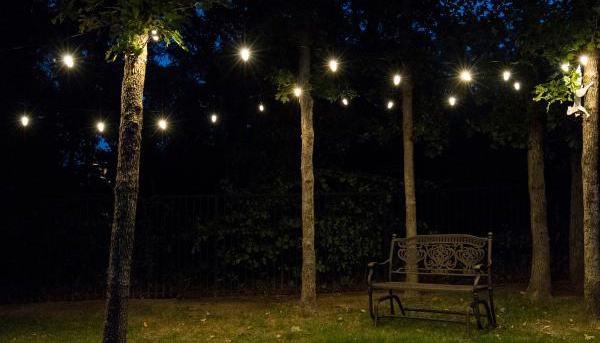 Add patio string lighting to your backyard for your outdoor events this summer.