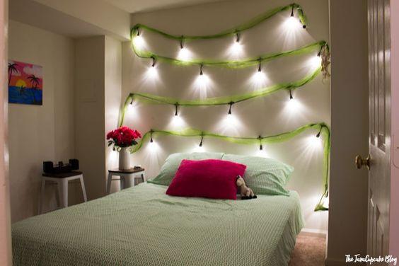 lighted DIY headboard with Enbrighten LED Cafe Lights