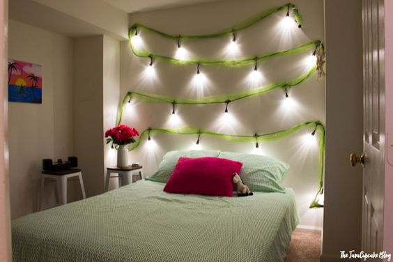 lighted DIY headboard with Enbrighten LED Cafe Lights