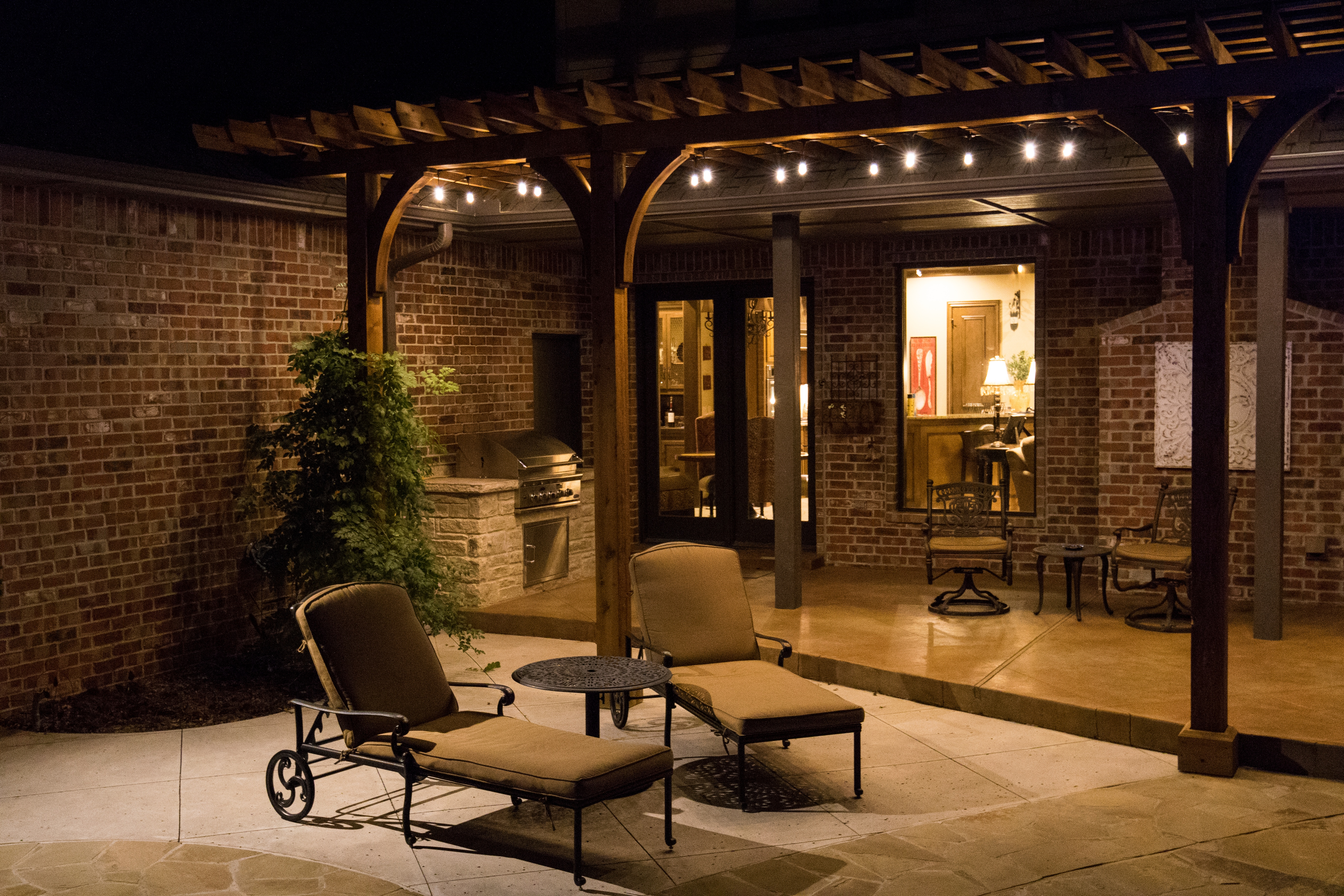 Add patio string lighting to your patio for your outdoor events this summer.