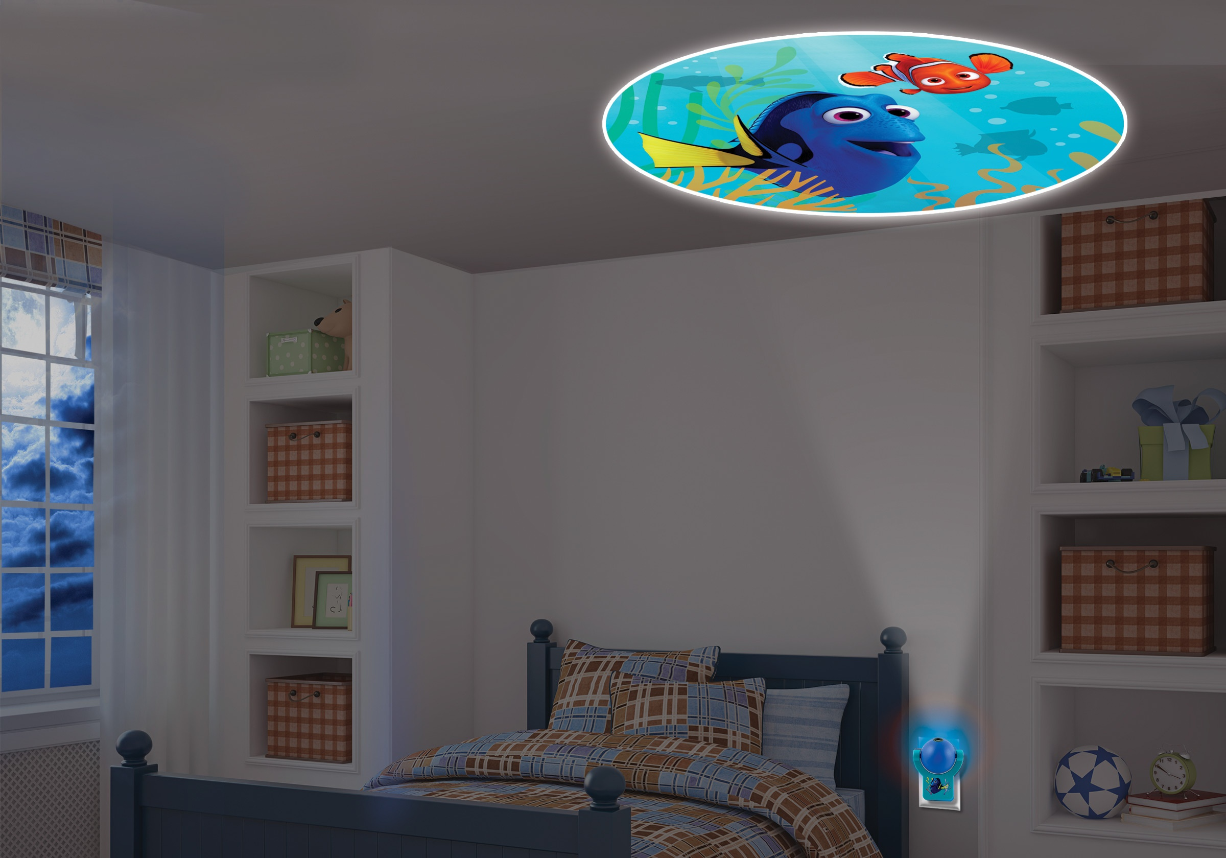 Projectables Help Kids Fall Asleep Easier with Finding Dory Swimming by Their Side At Bedtime.