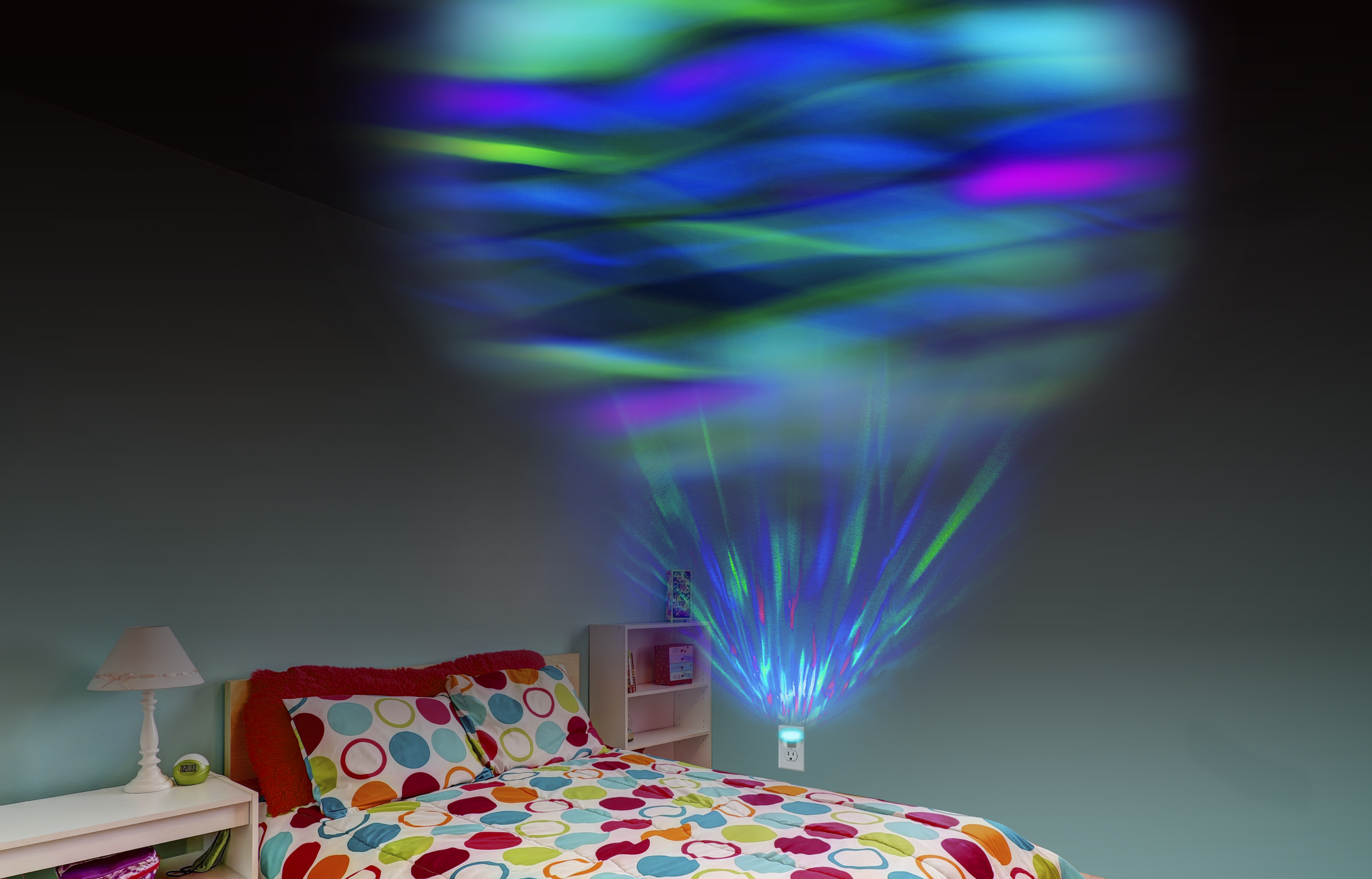 Space Nebula and the Northern Lights slowly move across a ceiling or wall to help promote sleep.