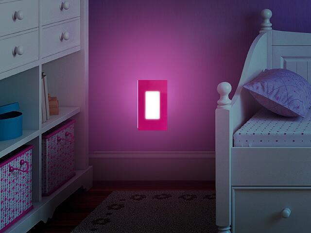 Illuminating Coverlite Night Light with pink exterior