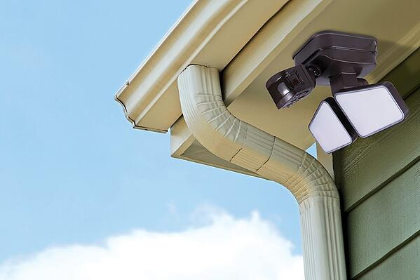 GE Enbrighten LED Security Lights can be mounted on eaves of home for downward directional lighting.
