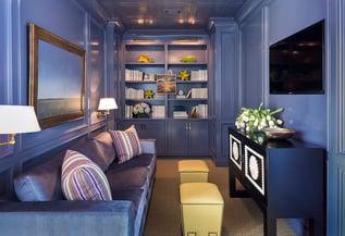Brilliant-monochromatic-TV-room-in-purple from decoist.com