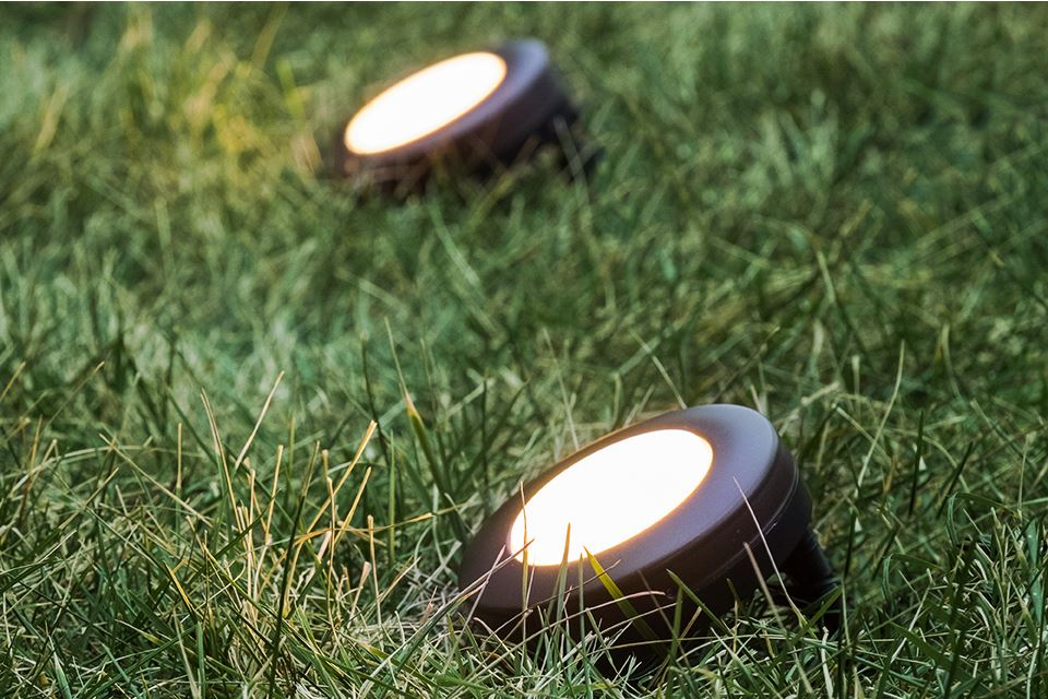Stake Enbrighten-Landscape-Puck-Lights into the ground for easy installation.
