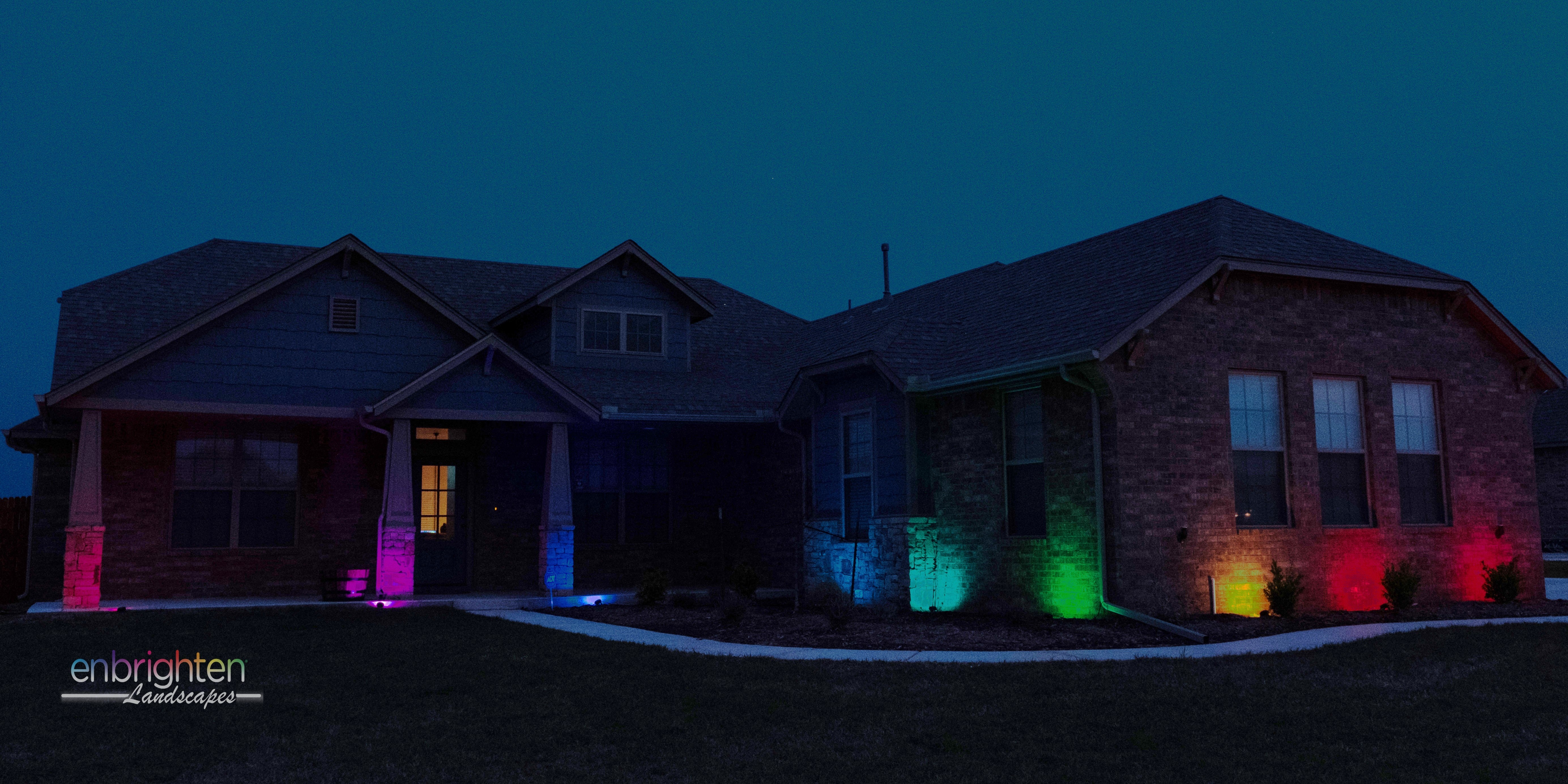 Add a vibrant touch to your landscaping with Multicolored-Enbrighten-Landscape-Lights in your flowerbed.