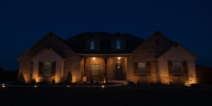 White Light Enbrighten Landscape Lighting adds a classic look to the front of your home.