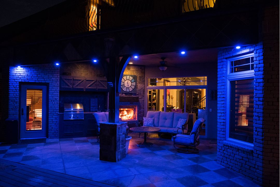 Cast a color on your back porch with Enbrighten Landscape Lights.